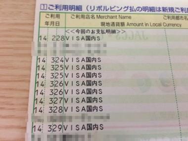 【VISA国内S】カード明細の内訳はいろいろ、カード会社のエラーか